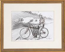 PENNY HARVARD, American, 20th Century, Motorcycle race with an Indian motorcycle., Pencil on paper, 7