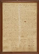 RARE FRAMED DOUBLE-SIDED MASSACHUSETTS MARRIAGE CERTIFICATE FROM 1799