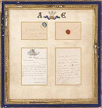 FRAMED LETTERS COMMEMORATING THE DUKE OF WALES VISIT The first letter, handwritten on Amity Hose 38 Letterhead reads: