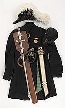 KNIGHTS TEMPLAR REGALIA SET Items belonged to Henry M. Bodecker of Williamsport, Pennsylvania. Includes coat, sash, sword, belt, hat...