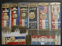 EIGHT FRAMED PATRIOT ORDER SONS OF AMERICA ENCAMPMENT BADGES Mounted together in a shadow box frame, 12
