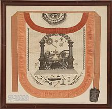FRAMED ROYAL ARCH MASON APRON AND MEDAL Apron in white jacquard with pink trim. Monochrome decoration of an eye, cloud and sun on fl...