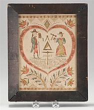 FRAMED MASONIC FRAKTUR Announcing the marriage of Joseph Anthony Horber and Maria Elizabeth Eberlin. With depiction of a heart, figu...