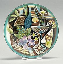 THELMA FRAZIER, American, 1905-1977, Abstract still life of wine, grapes and a glass., Copper enamel plate, diameter 10