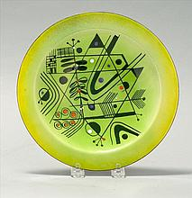 EDWARD WINTER, American, 1908- 1976, Abstract floral design on a bright green ground., Copper enamel plate, diameter 9