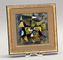 KARL DRERUP, German/American, 1904-2000, Abstract design in yellows, blues and browns., Enamel on copper, 9.25