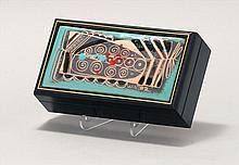 EDWARD WINTER, American, 1908-1976, Abstract floral design on a turquoise ground., Enamel plaque, 6