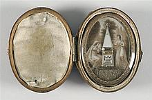 GOLD-MOUNTED BONE AND ENAMEL MEMORIAL BROOCH/PENDANT Dedicated to George Bushell, who died May 7, 1795 at age 64. Depicts two ladies...