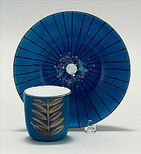 EDWARD WINTER, American, 1908-1976, Blue enameled cup and dish., Dish diameter 6.5