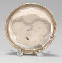 AMERICAN SILVER CARD TRAY BY ZACHARIAH BRIDGETON In flower form with three claw feet. Diameter 5.1