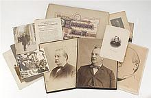LOT OF ASSORTED EPHEMERA RELATED TO GROVER CLEVELAND Includes photographs and copies of photographs, carte de visite, cartoons and t...