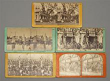 FIVE STEREOPTICON VIEW CARDS All depict scenes of Martha's Vineyard, including early views of the Tabernacle at the Martha's Vineyar.