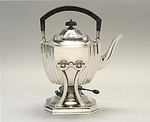 STERLING SILVER TEAPOT ON STAND BY DURGIN, DIV. OF GORHAM MFG. CO. In ribbed form with ebony finial and handle. Height 11.5