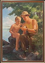 JOHN NEWTON HOWITT, American, 1885-1958, The fishing lesson., Oil on canvas, 32