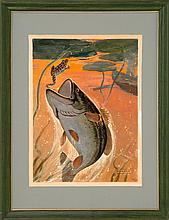 JOHN NEWTON HOWITT, American, 1885-1958, Fish and frog., Oil on board, image size 17