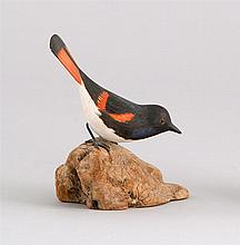 MINIATURE RED START By Robert Morse of Ellsworth, Maine. Signed on bottom of driftwood base.