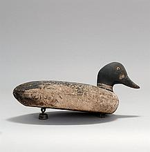 GOLDENEYE DRAKE DECOY From Long Island, New York. Maker unknown. Glass eyes. Cork body hit by shot. Original paint.