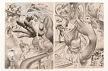 AMERICAN SCHOOL, Mid-20th Century, Pair of WWII-era illustrations, Pencil and gouache on paper, 15