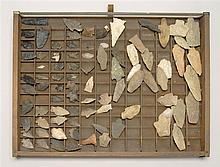 COLLECTION OF APPROXIMATELY EIGHTY ARROWHEADS Contained in a wooden display tray.