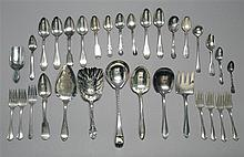 SEVENTY-EIGHT PIECES OF STERLING SILVER FLATWARE By various makers. Includes dinner knives, forks, teaspoons, etc. Together with fiv...