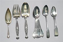 TEN STERLING SILVER SERVING PIECES By various makers. Includes five tablespoons by Tiffany Mfg. Co. in the