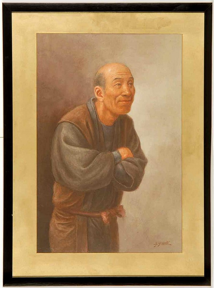 WATERCOLOR IN WESTERN STYLE By Hosui Yamamoto (1850-1906). Depicting a smiling man with folded arms. Signed lower right. 18¼
