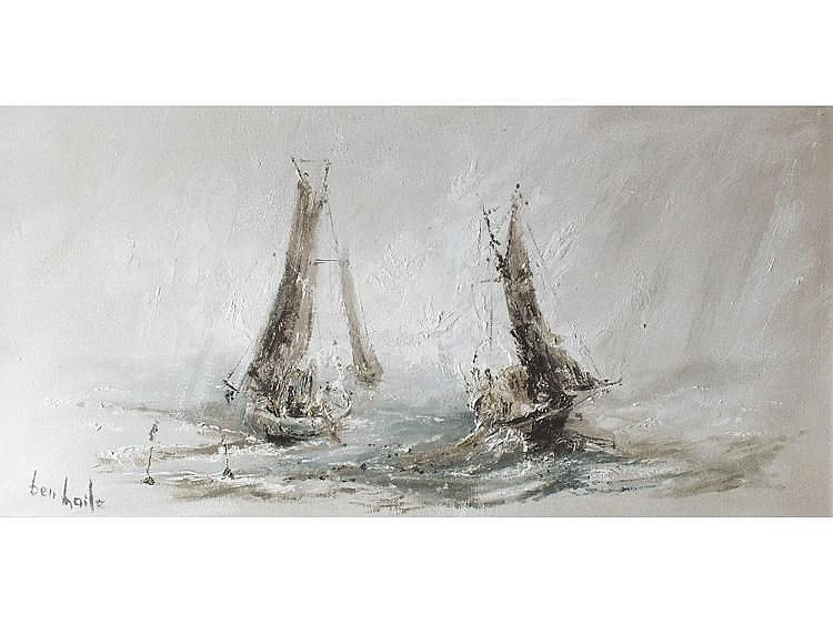 Ben Maile FISHING BOATS AT SEA Signed oil on