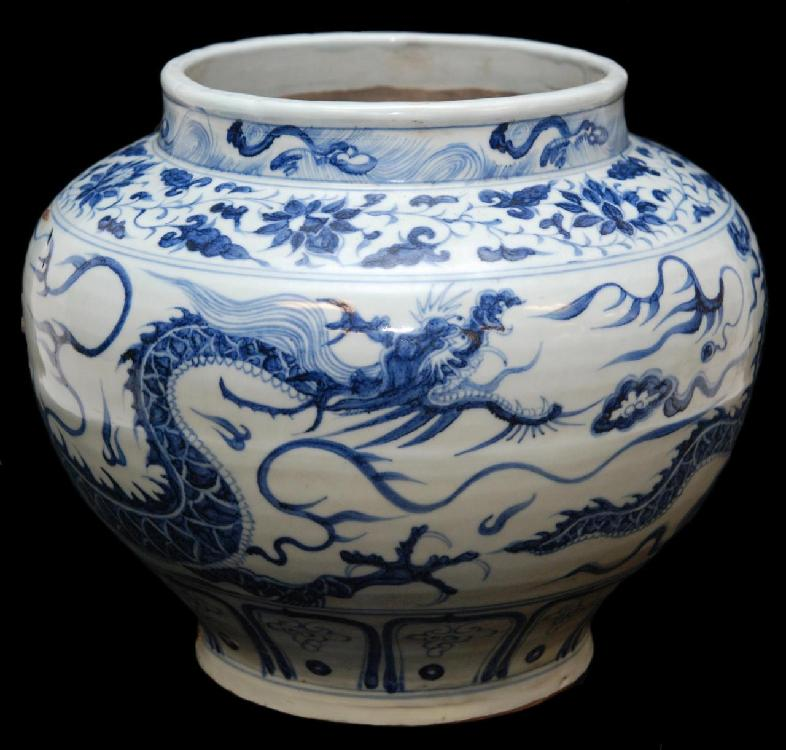 15th/16th C BLUE & WHITE PORCELAIN JARDINIERE