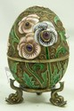 RUSSIAN SILVER ENAMELED JEWELED FLORAL EGG