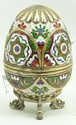 RUSSIAN SILVER ENAMELED EGG WITH STAND