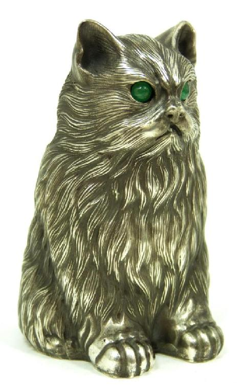 IMPERIAL RUSSIAN SILVER SEATED CAT FIGURE