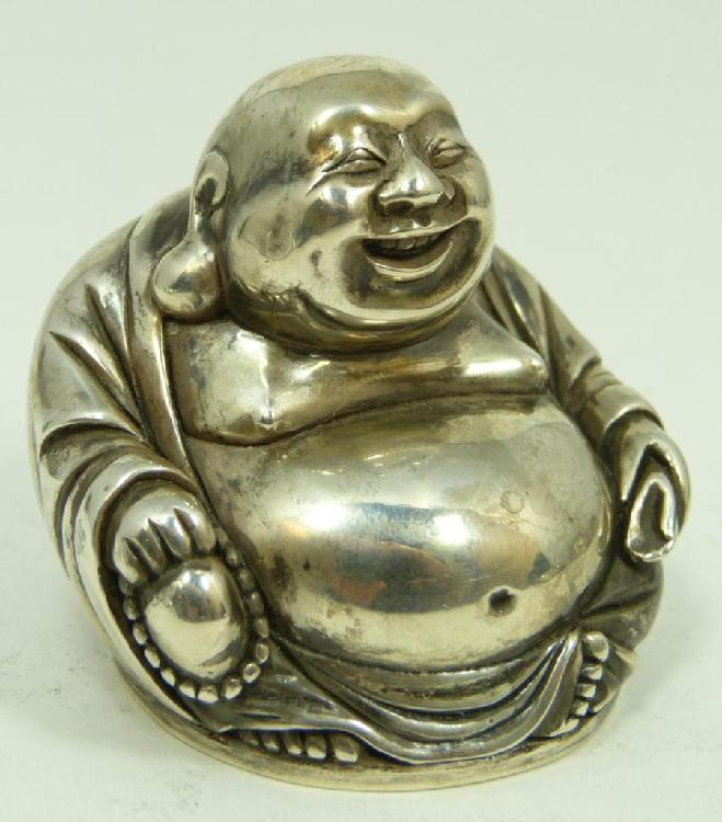 RUSSIAN SILVER SEATED HAPPY BUDDHA FIGURE