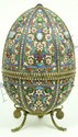 RUSSIAN SILVER & ENAMEL JEWELED EGG BOX