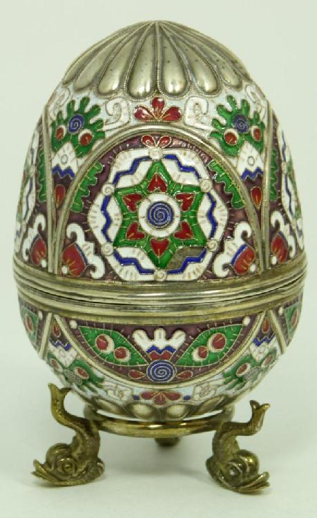 IMPERIAL RUSSIAN SILVER ENAMELED EGG RUCKERT