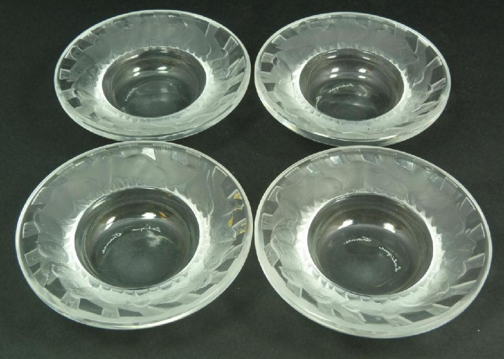 4 LALIQUE FRENCH CRYSTAL LOW BIRD BOWLS