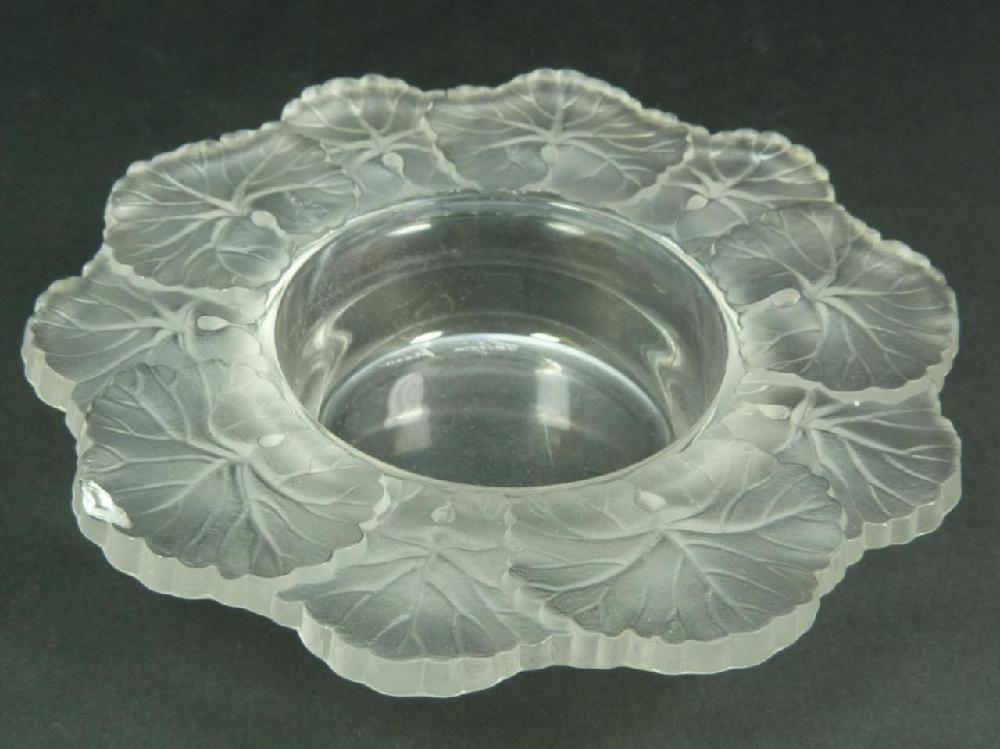LALIQUE FRENCH CRYSTAL 'HONFLEUR' CANDY BOWL