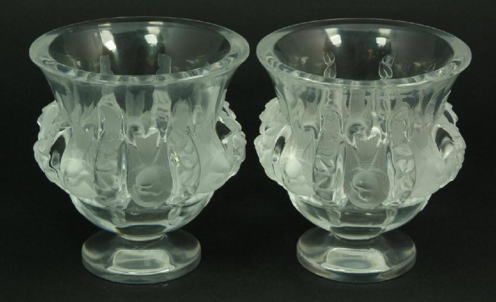 Pr LALIQUE FRENCH CRYSTAL 'DAMPIERRE' BIRD VASES