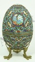 RUSSIAN SILVER ENAMELED EGG BOX w STAND