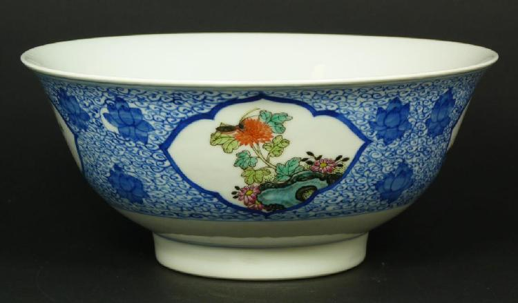 19th C CHINESE FAMILLE ROSE PORCELAIN BOWL
