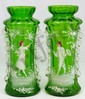 Pr MARY GREGORY STYLE ENAMELED GREEN GLASS VASES