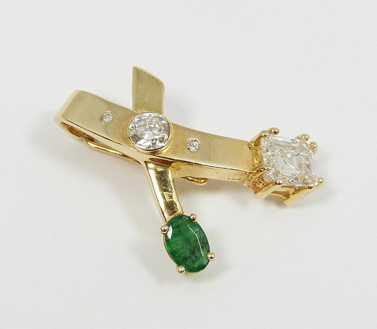 14K YG 1.24CT DIAMOND & EMERALD ENHANCER PENDANT