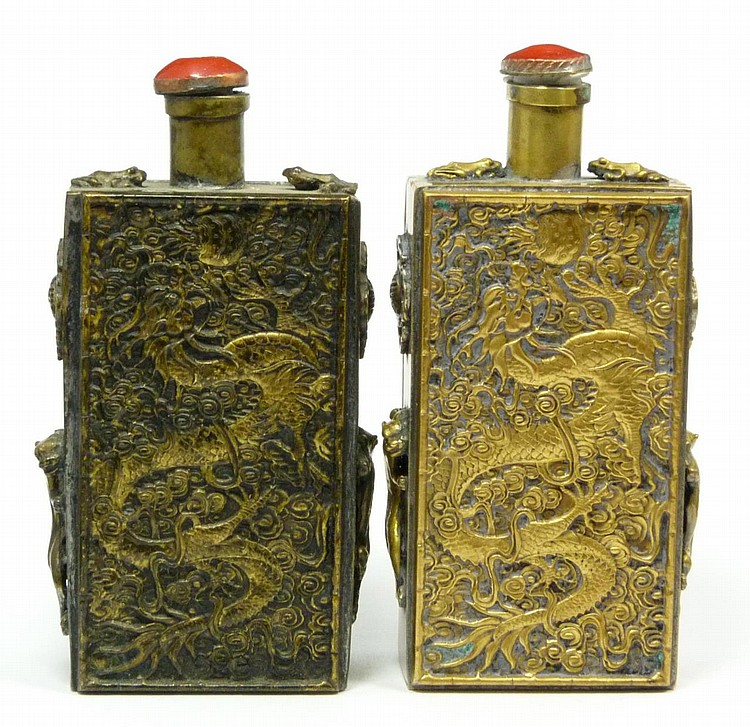 PAIR OF FIGURAL CHINESE SILVER SNUFF BOTTLES