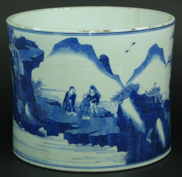 18th C CHINESE BLUE & WHITE PORCELAIN BRUSH POT