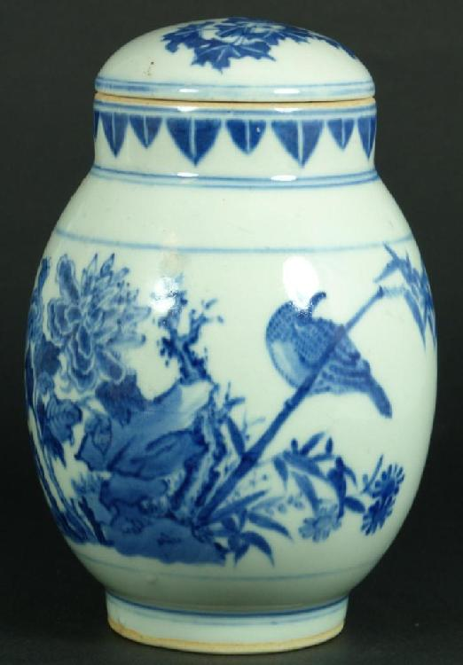 CHINESE BLUE & WHITE KANGXI LIDDED JAR