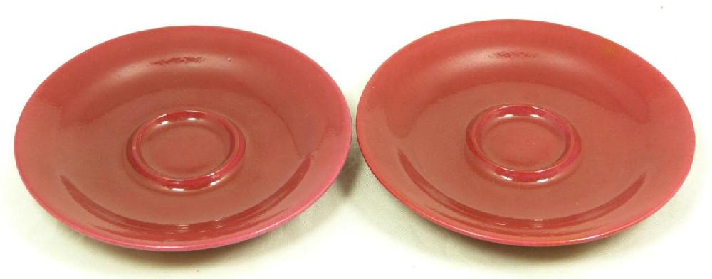 Pr OF 18th C CHINESE RED GLAZE TEA CUP SAUCERS