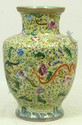 19th CENTURY FAMILLE ROSE GREEN FLORAL VASE