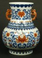 18th C CHINESE BLUE WHITE AND IRON RED VASE