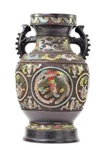 Large Chinese Painted Bronze and Enamel Phoenix Vase