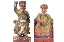 Pair of Chinese Polychrome Wooden Figures