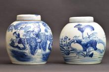 Pair of Antique Chinese Blue and White Porcelain Lidded